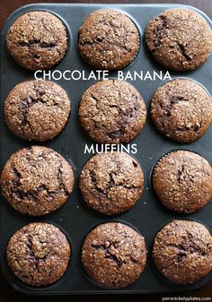 Chocolate Banana Muffins - chocolately banana muffins filled with chocolate chips & sprinkled with sugar. Homemade but you don't even have to get the mixer out!   Persnickety Plates