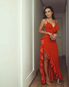 Hot Red Prom Dresses Ruffles Spaghetti Straps Long Evening Party Dress - Beauty is Art Elegant Dresses, Pretty Dresses, Sexy Dresses, Beautiful Dresses, Fashion Dresses, Prom Dresses, Red Dress Prom, Red Ruffle Dress, Casual Dresses