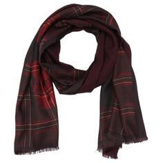 Alexander McQueen Bordeaux plaid patterned silk infinity scarf featuring polyvore, fashion, accessories, scarves, loop scarves, loop scarf, skull infinity scarf, plaid scarves and infinity scarf