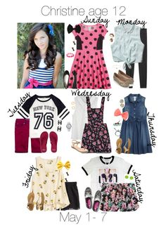 """""""Week Outfits- Christine"""" by hearrts-woods-polylife ❤ liked on Polyvore featuring art"""