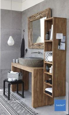 A bathroom furniture made of genuine teak wood. There is the # bathroom furniture .- A bathroom furniture made of genuine teak wood. There is the # bathroom furniture - Teak Bathroom, Wood Floor Bathroom, Modern Farmhouse Bathroom, Bathroom Layout, Bathroom Furniture, Bathroom Storage, Bathroom Interior, Bathroom Ideas, Bathroom Mirrors