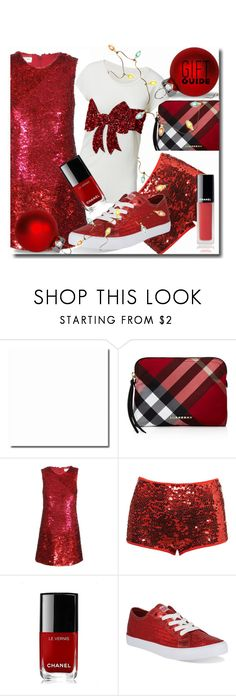 """Red Gift Guide"" by interesting-times ❤ liked on Polyvore featuring Burberry, Yves Saint Laurent, H&M, Topshop, Chanel, Gotta Flurt and besties"