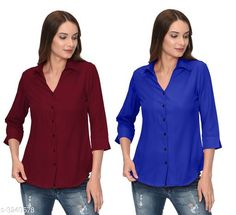 Checkout this latest Shirts Product Name: *Fashionable Contemporary Women's Polyester Solid Women's Shirts(Pack Of 2)* Fabric: Polyester Sleeve Length: Three-Quarter Sleeves Pattern: Solid Multipack: 2 Sizes: S, M, L, XL Country of Origin: India Easy Returns Available In Case Of Any Issue   Catalog Rating: ★3.8 (293)  Catalog Name: Fashionable Contemporary Women's Polyester Solid Women's Shirts Combo CatalogID_446822 C79-SC1022 Code: 405-3240578-1131