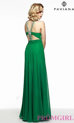 Long High Neck Open Back Dress by Faviana. Shop the look: http://www.promgirl.com/shop/dresses/viewitem-PD1312110