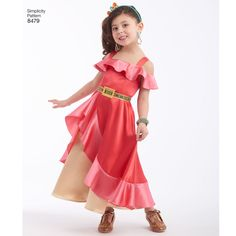 Take an adventure in the magical kingdom of Avalor with this authentic Disney princess costume. Costume pattern in child's sizes 3 - 8 includes classic ruffle dress and deluxe edition gown. Simplicity sewing pattern.