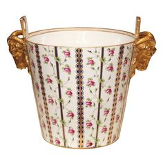 Sevres porcelain milk bucket as made for Marie Antionette for her charades as milk maid- France, Century - Kevin Stone Antiques, New Orleans, LA