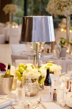 Tabletop Decor - Lamps on the tables - pretty cool! See the wedding on SMP: http://www.StyleMePretty.com/australia-weddings/2014/03/03/traditional-perth-wedding/Photography: DeRay & Simcoe