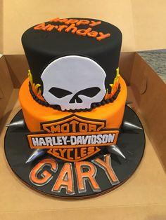 Harley Davidson cake with hand cut fondant decorations