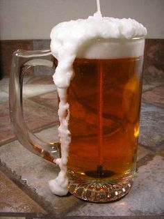 DIY How to Make a BeerCandle.  Wine & champagne glass designs would work also.