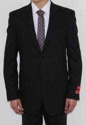 MEN'S TWO BUTTON BLACK WOOL TONE ON TONE SUIT