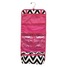 Hanging Cosmetic Storage Bag - Black Chevron w/Pink Trim – A Little This, A Little That - perfect carry all for traveling, fits full sized shampoo bottles, metal hook great for hanging in hotel rooms, also great essentials for college students college girls, saves room in dorms - dorm room space saver!