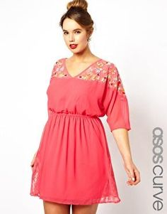 Love the hair and the dreass! ASOS CURVE Exclusive Salon Skater Dress With Embroidered Lace Plus Size Fashion For Women, Plus Fashion, Womens Fashion, Plus Size Dresses, Plus Size Outfits, Pretty Outfits, Cute Outfits, Cocktail Vestidos, Mode Plus