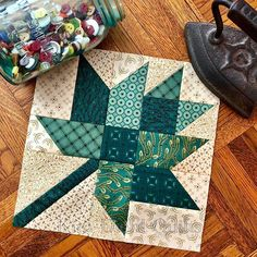 Sewing a test block and thinking about autumn, but not quite ready to let go of summer. a maple leaf block in shades of teal? Quilt Square Patterns, Quilt Block Patterns, Pattern Blocks, Square Quilt, Quilt Blocks, Colchas Quilting, Quilting Projects, Quilting Designs, Fall Quilts