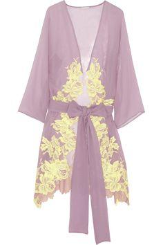 Rosamosario Sei La Mia Fragola lace-appliquéd silk-georgette robe NET-A-PORTER.COM