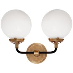 This modern two light curved bistro sconce is finished in hand-rubbed antique brass and black with white glass bulbs. Because this item is damp rated, it can be used in any room of the home, including the bathroom. Sconce Lighting, Vanity Lighting, Cool Lighting, Modern Lighting, Bathroom Lighting, Circa Lighting, Lighting Ideas, Kitchen Lighting, Antique Lighting