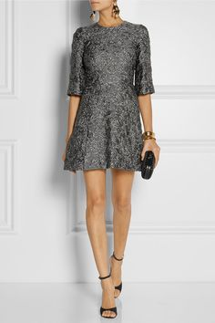 DOLCE & GABBANA - Metallic matelassé mini dress
