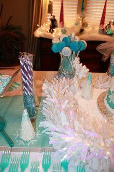 Disney Frozen birthday party - tablescape + Frozen trees