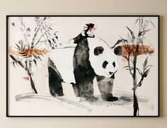 I'm offering a HUGE 25% off everything in my Etsy store until Monday 28/11/16 enter LBARTSALE2017 at the checkout - A personal favourite from my Etsy shop https://www.etsy.com/uk/listing/480739776/panda-japanese-ink-painting-contemporary