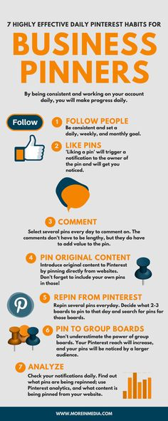 7 highly effective daily pinterest habits for business pinners #infographic Great tips even for the most saavy pinner!