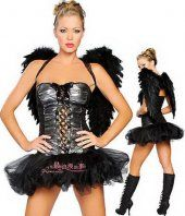 Robe bustier costume noir aile d'ange