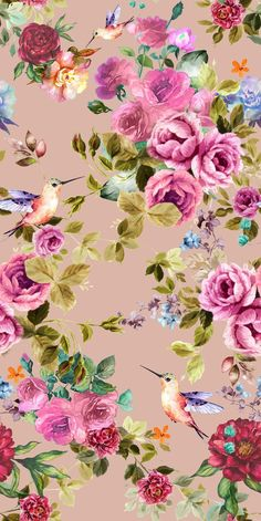 Roses and hummingbirds style Flowers Wallpaper, Flower Backgrounds, Wallpaper Backgrounds, Cellphone Wallpaper, Iphone Wallpaper, Flower Patterns, Print Patterns, Hummingbird Wallpaper, Decoupage Paper