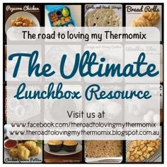 Amazing lists of meal ideas, lunch box ideas, home made cleaning products. Recipes are for the Thermomix, but could be adjusted if you don't have one. Lunch Box Recipes, Snack Recipes, Cooking Recipes, Lunchbox Ideas, Savory Snacks, Lunch Snacks, Bellini Recipe, Boite A Lunch, Kid Friendly Meals