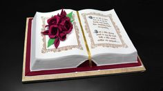 Learn how to easily make a cake into a book shape and decorate it with flowers. In this free tutorial, Serdar will show you his simple method of creating a Book Cake decorated with a bouquet of roses and an inscription. Cake Decorating Techniques, Cake Decorating Tutorials, Art Tutorials, 6 Tier Wedding Cakes, Open Book Cakes, Bible Cake, Communion Cakes, Gateaux Cake, Novelty Cakes
