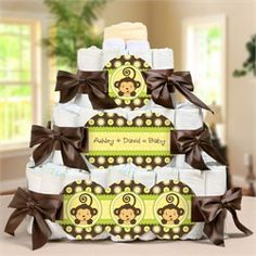 Monkey Baby Shower Diaper Cake- Love the green, brown, and yellow!