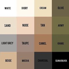 I LOVE this - all these neutrals colours go together, so try using these colours to build your capsule wardrobe!