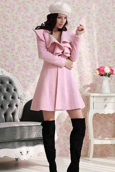 New Style V Neck Long Sleeve Single Breasted Long Pink Coat
