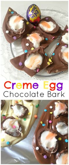 Ridiculously simple and easy Creme Egg Chocolate Bark with only TWO ingredients (three if you add sprinkles! It doesn't get any easier or yummier for Easter than this no bake recipe. (easy chocolate mousse no egg) Easy Chocolate Mousse, Chocolate Garnishes, Chocolate Bark, Cadbury Creme Egg Recipes, Cadbury Eggs, Baking Recipes, Dessert Recipes, Egg Desserts, Easter Recipes