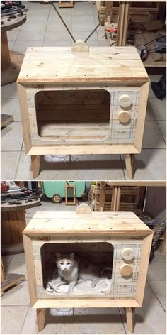 Repurposed Wooden Pallet DIY Ideas Catch out the shining appearance of the recycled pallet wooden planks and design this elegant pallet cat house idea shown below in the image. Wood Pallet Furniture, Pet Furniture, Furniture Projects, Furniture Removal, Painting Furniture, White Furniture, Furniture Stores, Industrial Furniture, Rustic Furniture