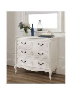 This stunning Baroque Antique French White Chest available at Baroque Furniture, Antique French Furniture, Shabby Chic Furniture, Furniture Design, Bedroom Furniture, Shabby Chic Chest Of Drawers, White Chest Of Drawers, White Chests, Luxury Decor