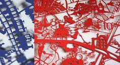 Option colourway lasercut card city maps for Famille Summerbelle designer