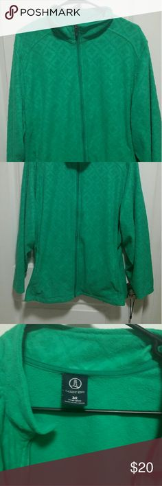 Land's End, green fleece zip front coat/jacket 3x Warm and cozy Lands End fleece jacket in fun green color. Size 3x in good condition.  I've barely worn this- maybe 3 or 4 times. Lands' End Jackets & Coats