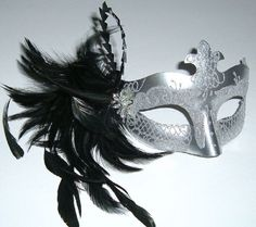 Silver & Black feathered Half Mask