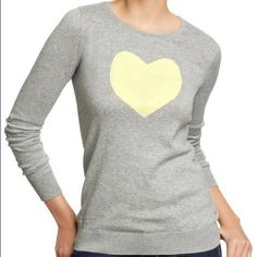 Grey sweater with yellow heart design, size L This grey crew neck sweater from Old Navy is playful & cute! It has been worn only a handful of times and features a fun yellow heart design on the front. Size L and fits true to size. Old Navy Sweaters Crew & Scoop Necks