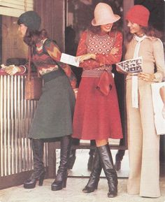 Australian 1970s autumn fashion: Printed knits, midi skirts and boots