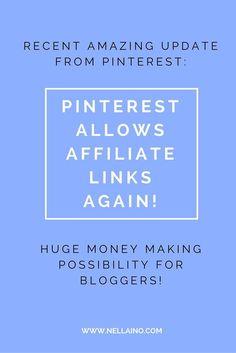 Amazing news from Pinterest! Bloggers can start using affiliate links on Pinterest  www.nellaino.com