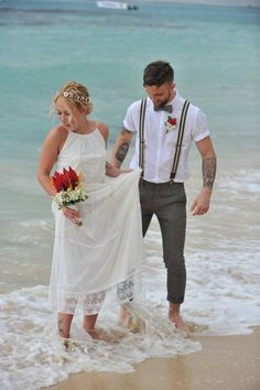 Beach Wedding - picture idea - wedding dress - beach wedding dress - Groom with suspenders - Weddings By RIU - Caribbean Wedding