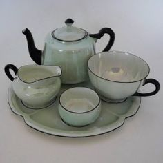 CZECHO-SLOVAKIA MINT GREEN LUSTERWARE TEA SET FOR ONE DINNERWARE PORCELAIN Beautiful...