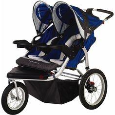 Schwinn Turismo Swivel Double Jogging Stroller - Blue/Gray