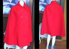 Vintage 1960s Dramatic Bright Red Vintage 1960s Dramatic Bright Red Wool Cape Capelet Cloak Jacket Coat by Mansfield by WestCoastVintageRSL, $112.00