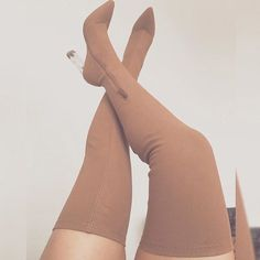 Nude Suede Thigh High Heel Boots Stiletto Heel Boots for Date Sexy Stylish Elastic Thigh High Boots Fashion Trendy Clear Heels Long Boots For Winter, Big day Dr Shoes, Crazy Shoes, Cute Shoes, Me Too Shoes, Shoes Heels, Shoes Sneakers, Thigh High Boots Heels, Heeled Boots, Bootie Boots