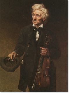 """""""A Street Musician"""" (1879), by English-born American artist - John George Brown (1831-1913), Oil on canvas."""