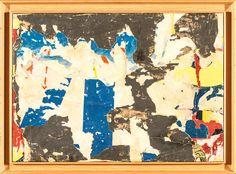 Jacques VILLEGLÉ (né à Quimper, 1926) RUE TRANSNONNAIN 1964 Décollage marouflé sur toile Signé et daté en bas à droite Contresigné, titré et daté au dos 46 x 65,5 cm