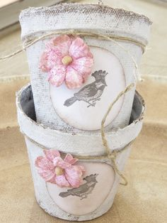 Set of Two Decorative Painted Peat Pots with Stamped Tag, Paper Flower and Twine