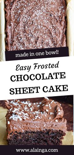This traditional Easy Frosted Chocolate Sheet Cake is a super soft one layer chocolate cake with a rich chocolate taste and all made in one bowl. It is then topped with fudgy chocolate frosting and garnished with finely shredded coconut on top. Easy Chocolate Desserts, Cold Desserts, Homemade Desserts, Chocolate Frosting, Homemade Cakes, Chocolate Recipes, Easy Desserts, Chocolate Cake, Dessert Recipes