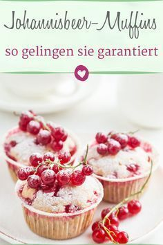 Delicious currant muffins the recipe for delicious mini-cakes. The post Redcurrant Muffins: With this recipe they are guaranteed to succeed appeared first on Win Dessert. Easy Cheesecake Recipes, Easy Bread Recipes, Baking Recipes, Dessert Recipes, Easy Donut Recipe, Donut Recipes, Mini Desserts, Cupcakes, Muffins Sains