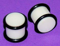 Pair White Acrylic Ear Saddle Flesh Plugs Gauges 00 Gauges 9mm